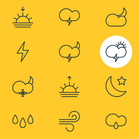Vector Illustration Of 12 Sky Icons. Editable Pack Of Breeze, Windstorm, Lightning And Other Elements.