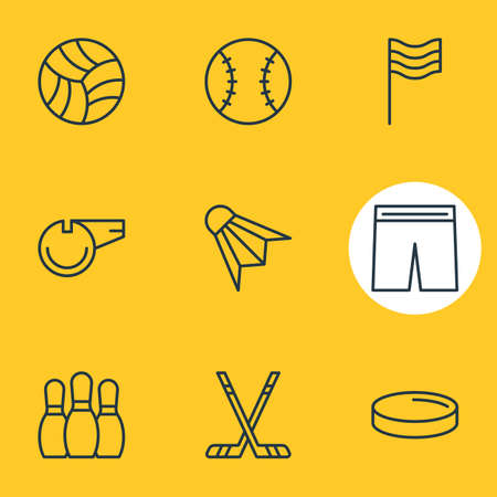 Vector Illustration Of 9 Fitness Icons. Editable Pack Of Bowling, Batting, Hockey And Other Elements. Illustration
