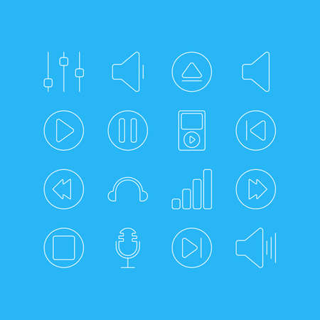 Vector Illustration Of 16 Melody Icons. Editable Pack Of Reversing, Lag, Mp3 And Other Elements. Illustration