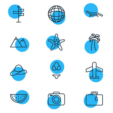 pinnacle: Vector Illustration Of 12 Summer Icons. Editable Pack Of Melon, Longue, Guide And Other Elements.