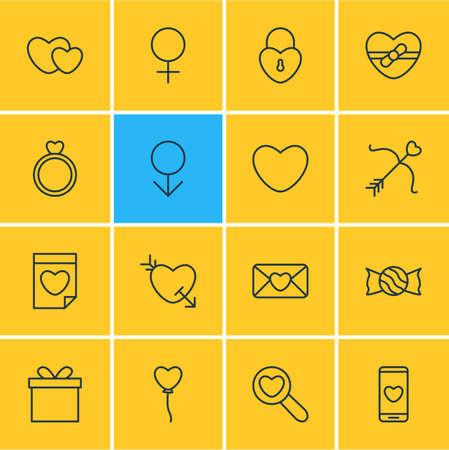 Illustration vectorielle de 16 icônes d'amour. Pack modifiable de flèche, cadeau, âme et autres éléments.