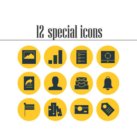 12 internet icons. Editable pack of coupon, account, notification and other elements. Illustration