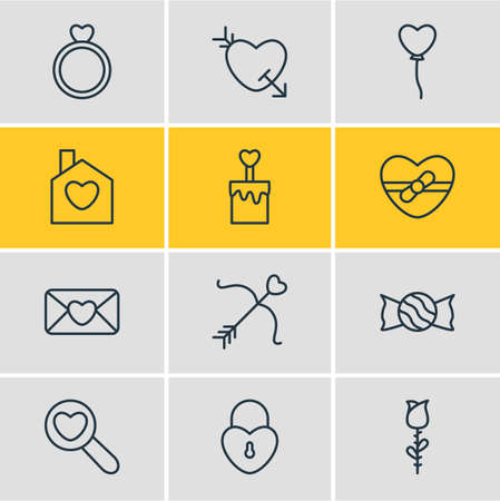 Vector Illustration Of 12 Amour Icons. Editable Pack Of Lock , Candle , Arrow Elements.