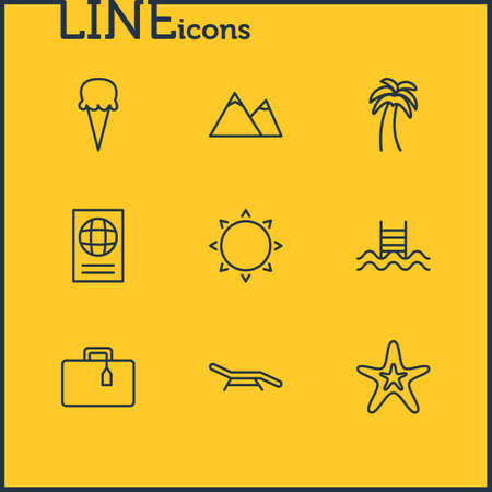 Vector Illustration Of 9 Season Icons. Editable Pack Of Certificate, Hill, Swimming And Other Elements.