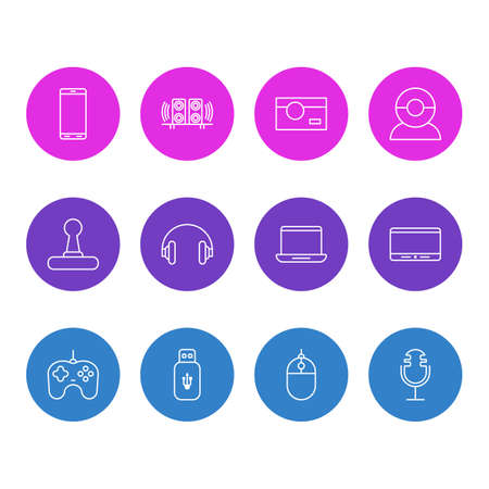 Vector Illustration Of 12 Device Icons. Editable Pack Of Joypad, Usb Card, Smartphone And Other Elements. Illustration