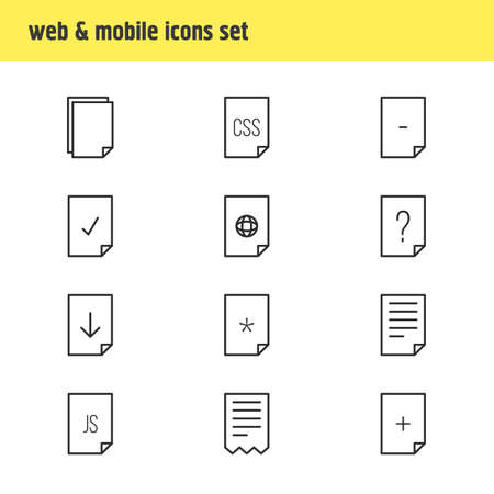 css: Vector Illustration Of 12 Paper Icons. Editable Pack Of Plus, Copy, Question And Other Elements.