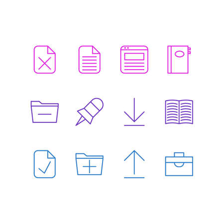 Vector Illustration Of 12 Office Icons. Editable Pack Of Note, Done, Deleting Folder And Other Elements. Иллюстрация