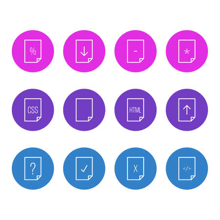 Vector Illustration Of 12 File Icons. Editable Pack Of Upload, Basic, HTML And Other Elements.