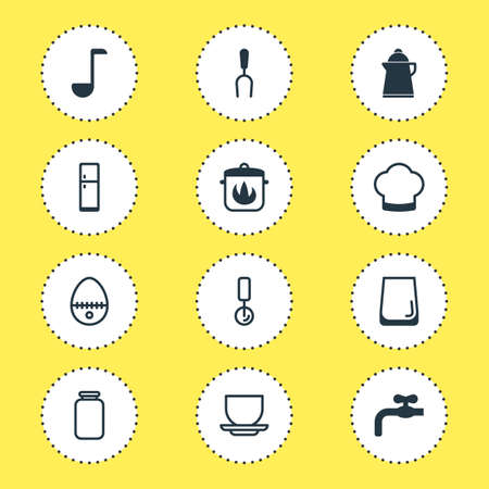 Vector Illustration Of 12 Cooking Icons. Editable Pack Of Faucet, Barbecue Tool, Tea And Other Elements.