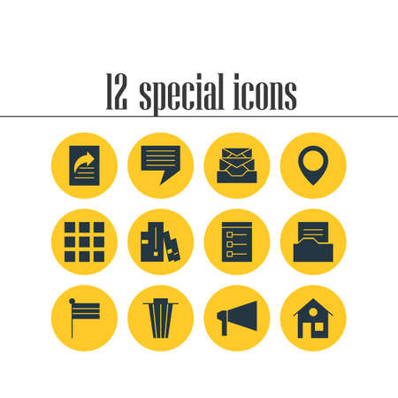 Vector Illustration Of 12 Online Icons. Editable Pack Of Messages, Chat, Document Directory And Other Elements.
