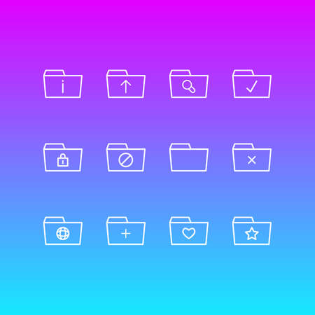 Vector Illustration Of 12 Folder Icons. Editable Pack Of Pinned, Magnifier, Closed And Other Elements.