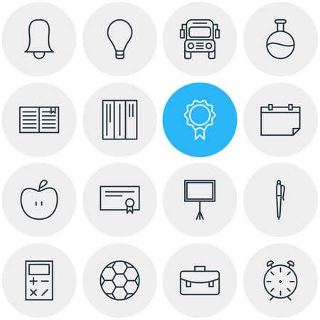 Vector illustratie van 16 studies iconen. Bewerkbare verpakking van bol, fruit, diploma en andere elementen. Stock Illustratie