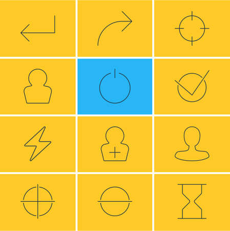 Vector Illustration Of 12 User Icons. Editable Pack Of Man Member, Accsess, Share And Other Elements. Illustration