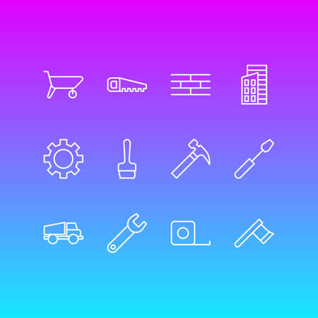 Vector Illustration Of 12 Construction Icons. Editable Pack Of Handcart, Lorry, Hacksaw Elements.
