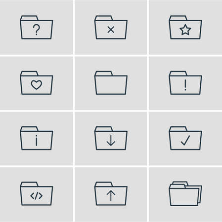 Vector Illustration Of 12 Document Icons. Editable Pack Of Folders, Important, Information And Other Elements.