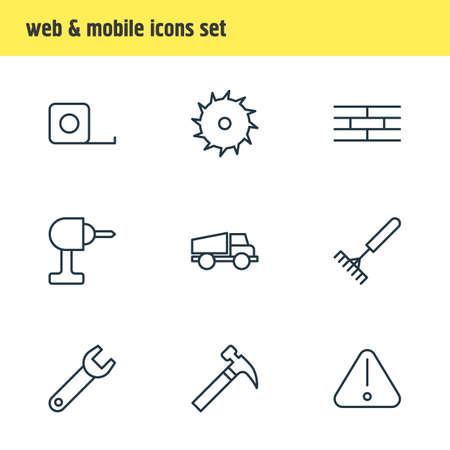 camion: Vector Illustration Of 9 Structure Icons. Editable Pack Of Road Sign, Handle Hit, Harrow Elements.