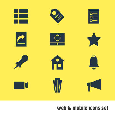 erased: Vector Illustration Of 12 Internet Icons. Editable Pack Of Bullhorn, Target Scope, Thumbtack And Other Elements. Illustration