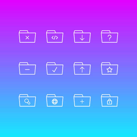 Vector Illustration Of 12 Dossier Icons. Editable Pack Of Pinned, Question, Remove And Other Elements.