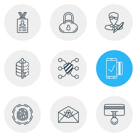 decode: Vector Illustration Of 9 Security Icons. Editable Pack Of Encoder, Safe Storage, Account Data And Other Elements.
