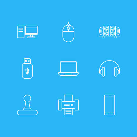 printout: Vector Illustration Of 9 Technology Icons. Editable Pack Of Smartphone, Computer, Usb Card And Other Elements.