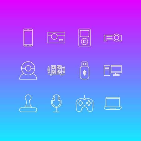 Vector Illustration Of 12 Accessory Icons. Editable Pack Of Smartphone, PC, Floodlight And Other Elements. Illustration
