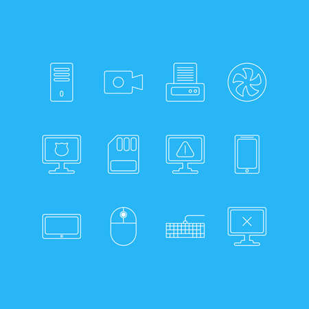 Vector Illustration Of 12 Notebook Icons. Editable Pack Of Qwerty Board, Printer, Cooler And Other Elements.