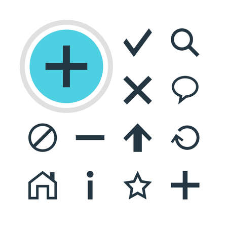 Vector Illustration Of 12 Interface Icons. Editable Pack Of Magnifier, Talk Bubble, Wrong And Other Elements.