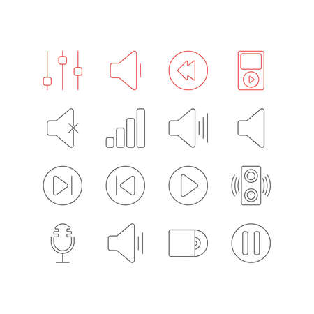 silent: Vector Illustration Of 16 Music Icons. Editable Pack Of Audio, Soundless, Volume Up And Other Elements. Illustration