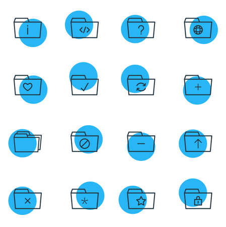Vector Illustration Of 16 Folder Icons. Editable Pack Of Liked, Question, Pinned And Other Elements. Illustration