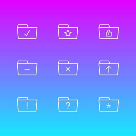 Vector Illustration Of 9 Dossier Icons. Editable Pack Of Important, Significant, Submit And Other Elements. Illustration