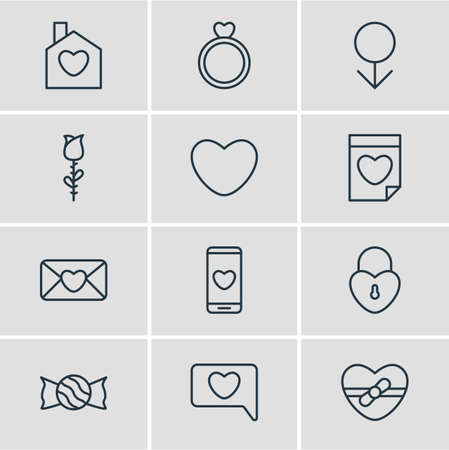 Vector Illustration Of 12 Passion Icons. Editable Pack Of Home, Rose, Male And Other Elements.