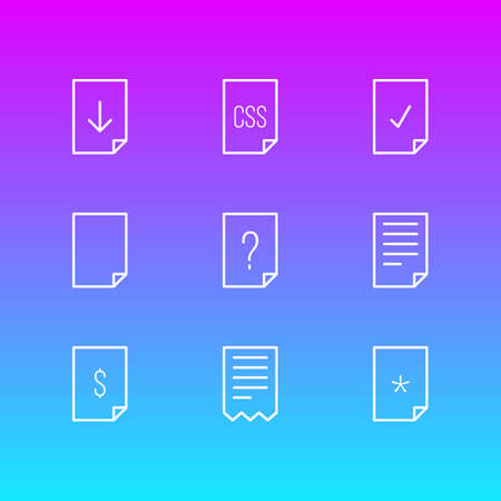 Vector Illustration Of 9 Page Icons. Editable Pack Of Question, Folder, Dollar And Other Elements.
