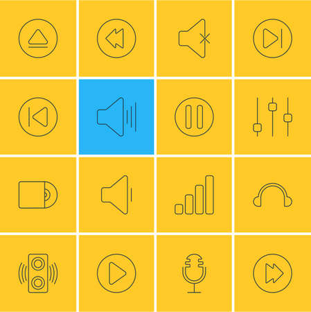 reversing: Vector Illustration Of 16 Melody Icons. Editable Pack Of Soundless, Lag, Compact Disk And Other Elements.