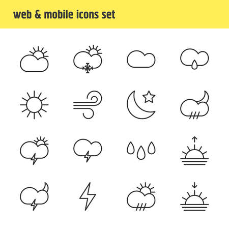 Vector Illustration Of 16 Sky Icons. Editable Pack Of Sunrise, Breeze, Fulminant And Other Elements. Illustration