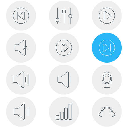 subsequent: Vector Illustration Of 12 Melody Icons. Editable Pack Of Stabilizer, Volume Up, Start And Other Elements.