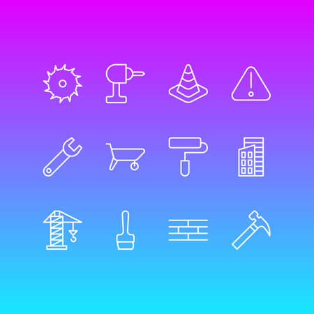 Vector Illustration Of 12 Structure Icons. Editable Pack Of Paintbrush, Spanner, Handcart Elements.