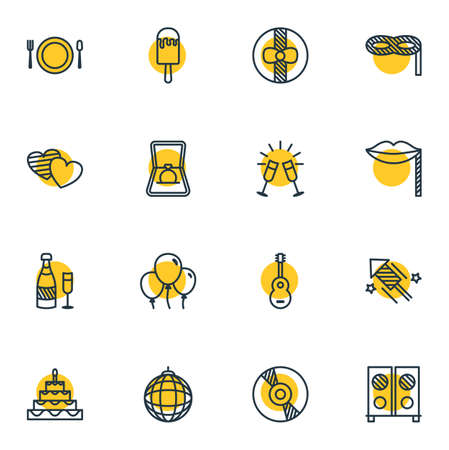 Vector Illustration Of 16 Party Icons. Editable Pack Of Nightclub Ball, Decoration, Engagement And Other Elements. Illustration