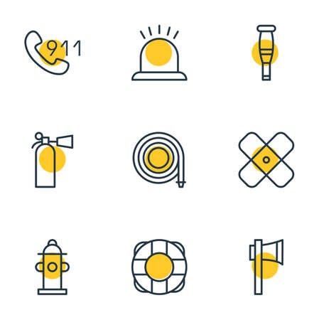 hotline: Vector Illustration Of 9 Necessity Icons. Editable Pack Of Safety, Adhesive, Lifesaver And Other Elements.