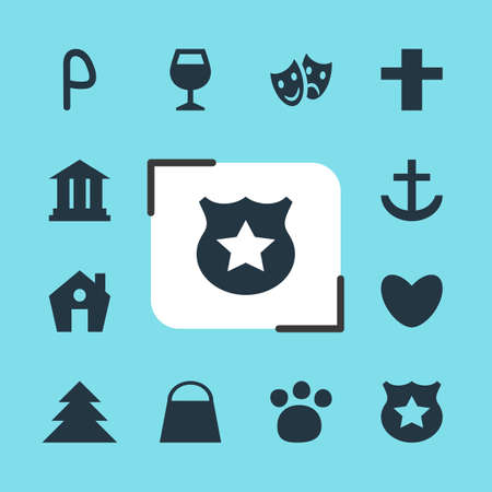 Vector Illustration Of 12 Check-In Icons. Editable Pack Of Masks, Anchor, Car Park And Other Elements.