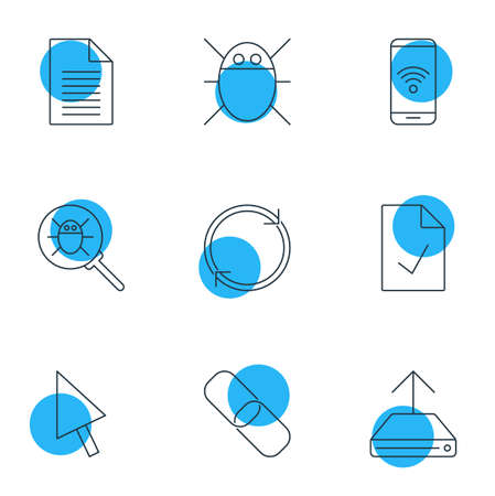 Vector Illustration Of 9 Internet Icons. Editable Pack Of Bug, Computer Virus, Telephone And Other Elements. Illustration