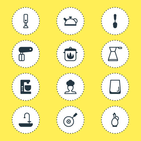 Vector Illustration Of 12 Kitchenware Icons. Editable Pack Of Mixer, Skillet, Glass Cup And Other Elements. Illustration