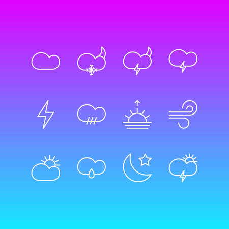 Vector Illustration Of 12 Sky Icons. Editable Pack Of Lightning, Drizzles, Fulminant And Other Elements.