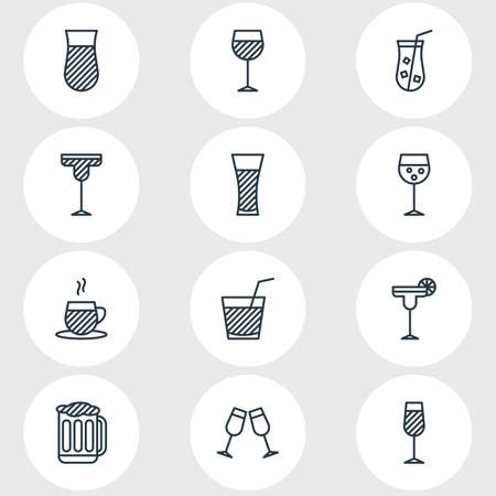 Vector Illustration Of 12 Drinks Icons. Editable Pack Of Beverage, Tea Cup, Goblet And Other Elements.