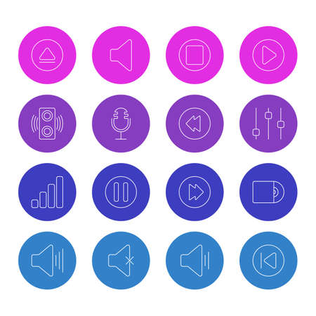 Vector Illustration Of 16 Melody Icons. Editable Pack Of Reversing, Amplifier, Volume Up And Other Elements. Illustration