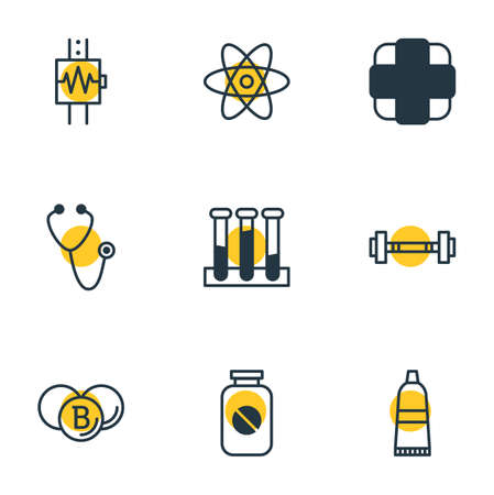 Vector Illustration Of 9 Health Icons. Editable Pack Of Pharmaceutical, Tube, Pulse And Other Elements.