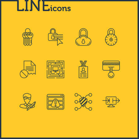 Vector Illustration Of 12 Data Icons. Editable Pack Of Account Data, System Security, Safe Lock And Other Elements.