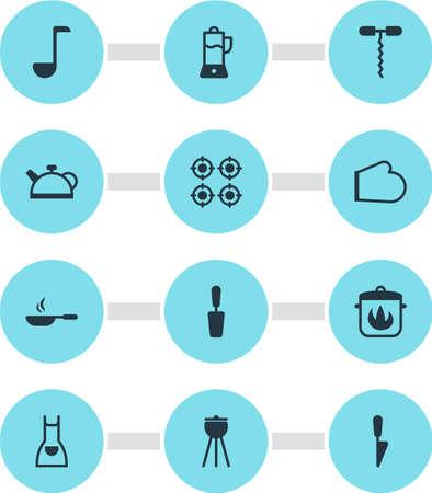 Vector Illustratie Van 12 Keukengerei Pictogrammen. Bewerkbaar pakje kiel, barbecue, wijnopener en andere elementen.