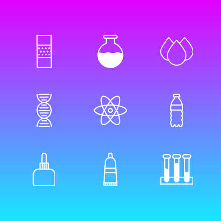 Vector Illustration Of 9 Medical Icons. Editable Pack Of Band Aid, Vial, Plastic Bottle Elements.