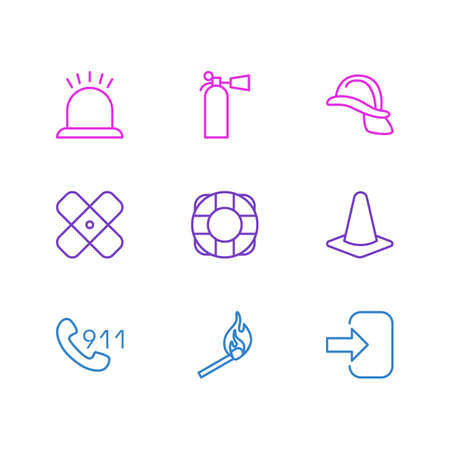 hotline: Vector Illustration Of 9 Extra Icons. Editable Pack Of Fire, Hotline, Lifesaver And Other Elements. Illustration