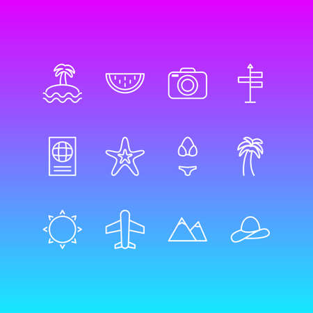 Vector Illustration Of 12 Summer Icons. Editable Pack Of Hill, Airplane, Swimwear And Other Elements.
